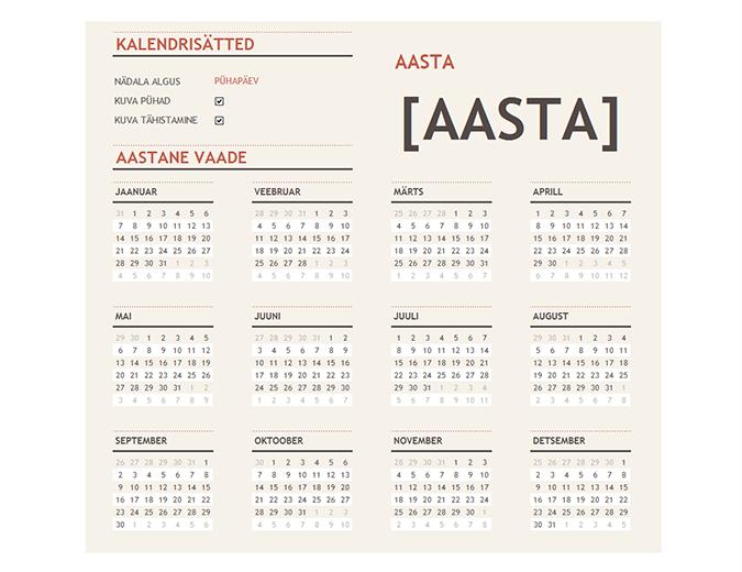 Pühadega kalender mis tahes aasta jaoks