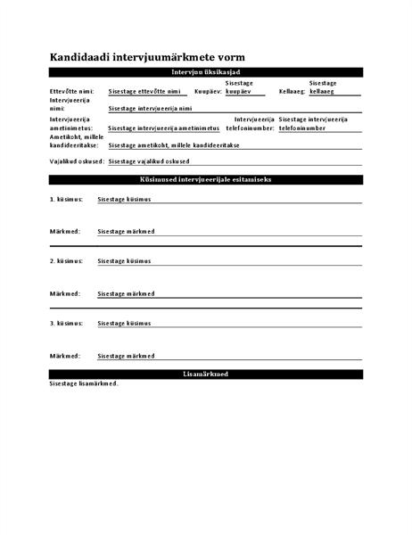 Kandidaadi intervjuumärkmete vorm