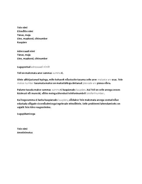 Tähtaja ületanud tasumata makse tasumist taotlev kiri