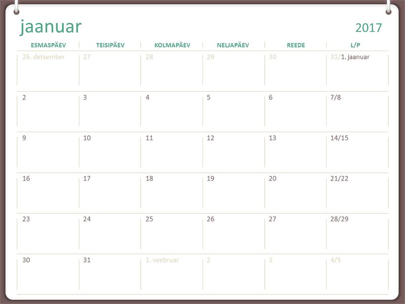 2017. aasta kalender (E–P, kahe rõngaga)