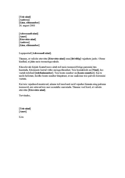 Sissejuhatav kiri uuele kliendile