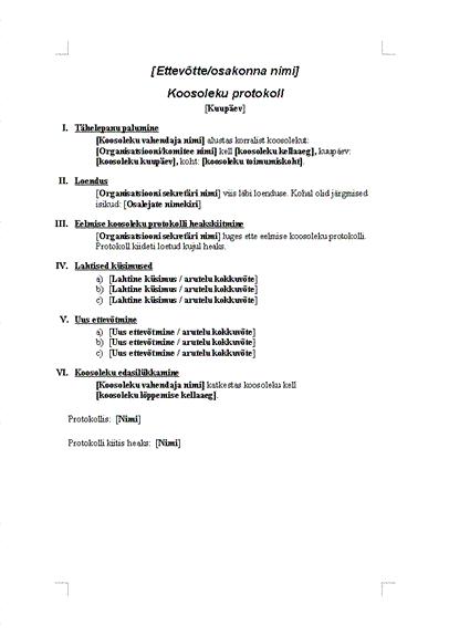 Formaalse koosoleku protokoll