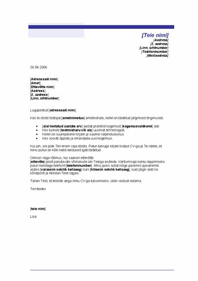 Omaalgatusliku CV kaaskiri (sinise joonega kujundus)