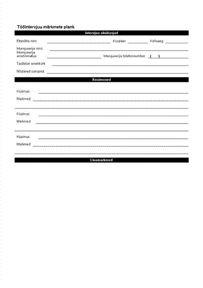 Tööintervjuu märkmete plank