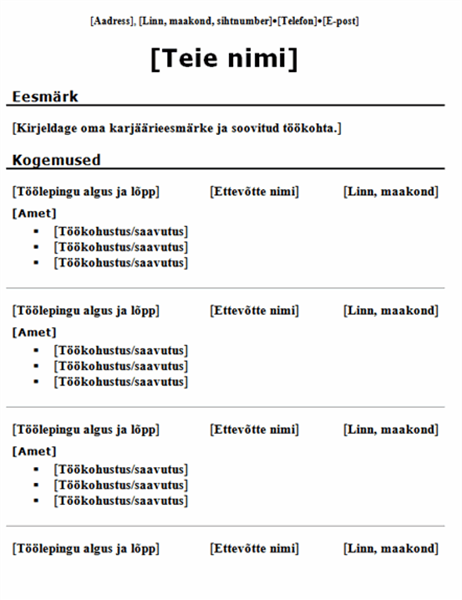 Kronoloogiline CV (traditsiooniline kujundus)