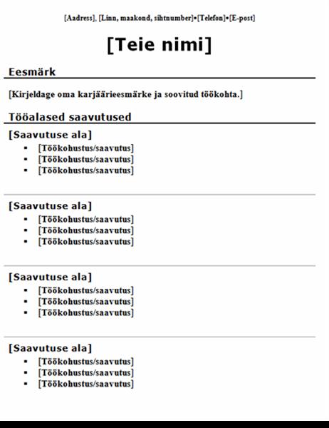 Funktsionaalne CV (traditsiooniline kujundus)