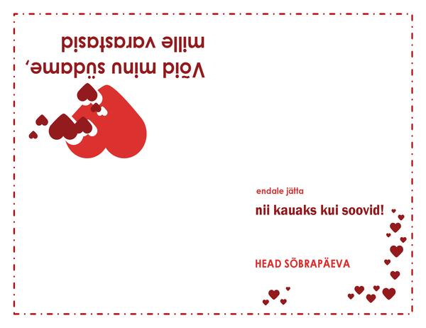 Sõbrapäeva kaart (südametega kujundus)