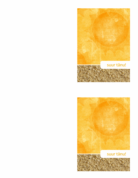 Tänukaart (päikese ja liivaga kujundus)