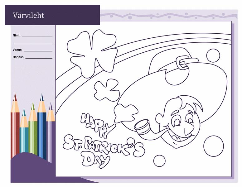 Püha Patricku päeva värvimisleht (härjapõlvlastega kujundus)
