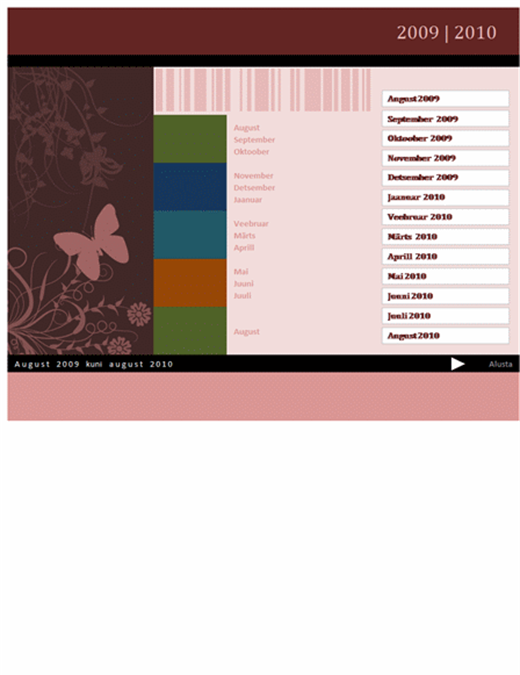 Kooli- või majandusaasta kalender 2009-2010 (augustist augustini)