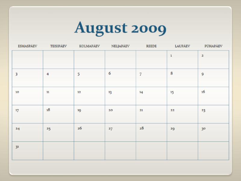 Kooliaasta kalender 2009-2010 (13 lk, E-P)