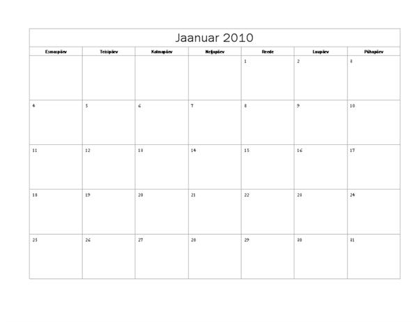 Kalender 2010 (lihtne kujundus, E–P)