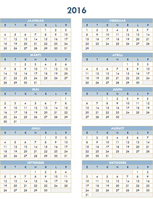 2016-2025 aastakalender