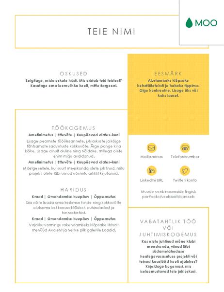 MOO kujundatud karge ja tagasihoidliku kujundusega elulookirjeldus
