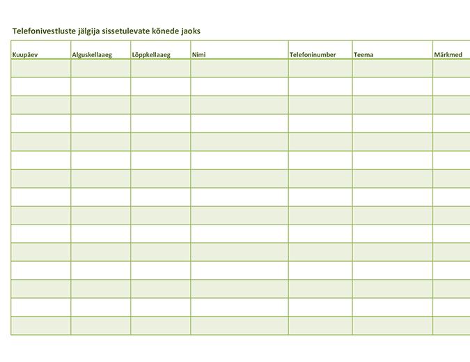 Telefonivestluste jälgija (sissetulevate ja väljaminevate kõnede jaoks)