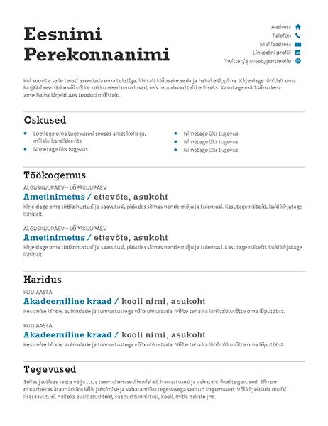 Tasakaalustatud elulookirjeldus (modernne kujundus)