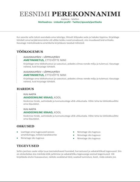 Kronoloogiline elulookirjeldus (moodne kujundus)