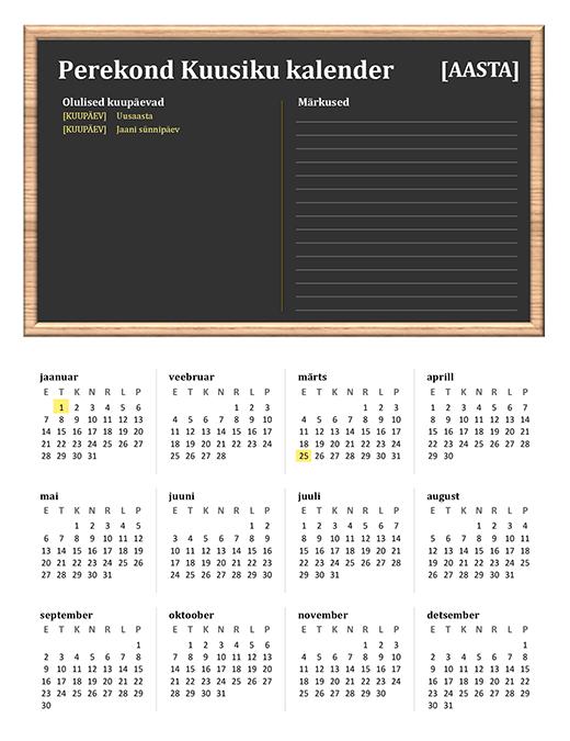 Perekalender (mis tahes aasta, E–P)
