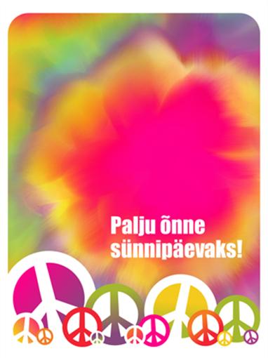 Sünnipäevakaart (sidumistehnikas värvikujundus)