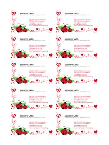 Visiitkaardid (lepatriinud ja südamed, teksti vasakjoondus, 10 kaarti lehel)