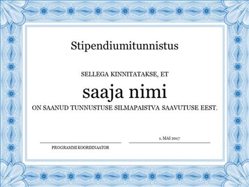 Stipendiumitunnistus (ametlik sinine ääris)