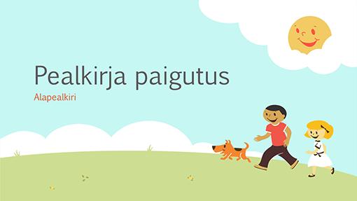 Mängivate lastega haridusteemaline esitlus (multikalaadsed illustratsioonid, laiekraan)
