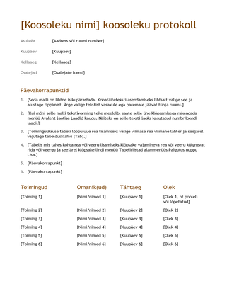 Koosoleku protokoll (lihtne)