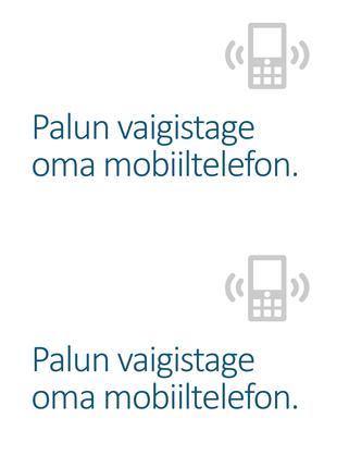 Mobiiltelefoni väljalülitamise meeldetuletuse plakat