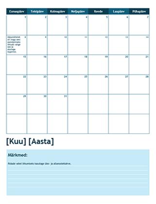 Ühe kuu kooliaasta kalender (nädal algab esmaspäevaga)