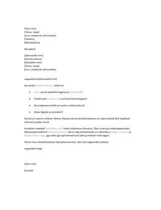 Kaaskiri elulookirjeldusele, mis saadetakse ettevõttesse omal algatusel