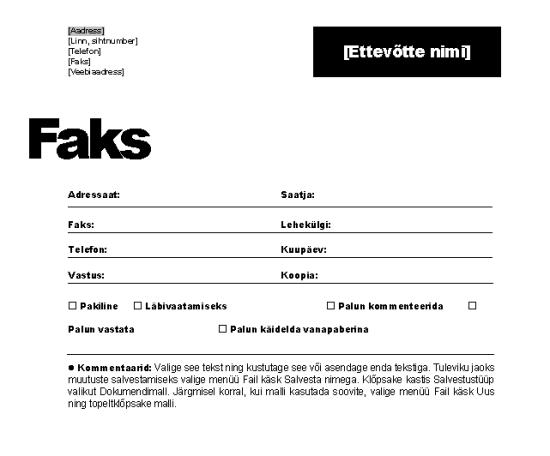 Faksi esileht (ametlik kujundus)