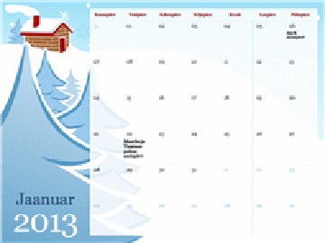 2013. aasta aastaajateemaline kalender, E–P