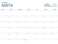 Aastast sõltumatu ühe kuu kalender märkmeruumiga