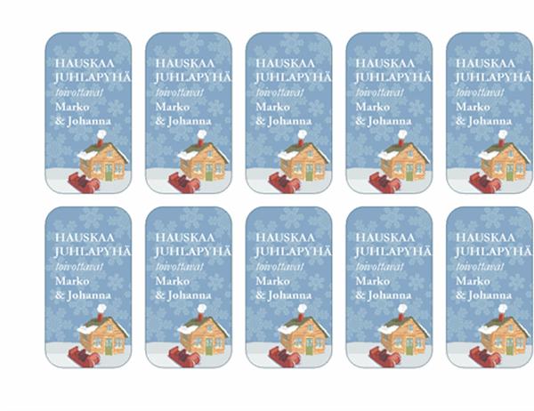Lahjapakettikortteja (talo talvisessa maisemassa; Avery 5871-, 8871-, 8873-, 8876- ja 8879-yhteensopiva)