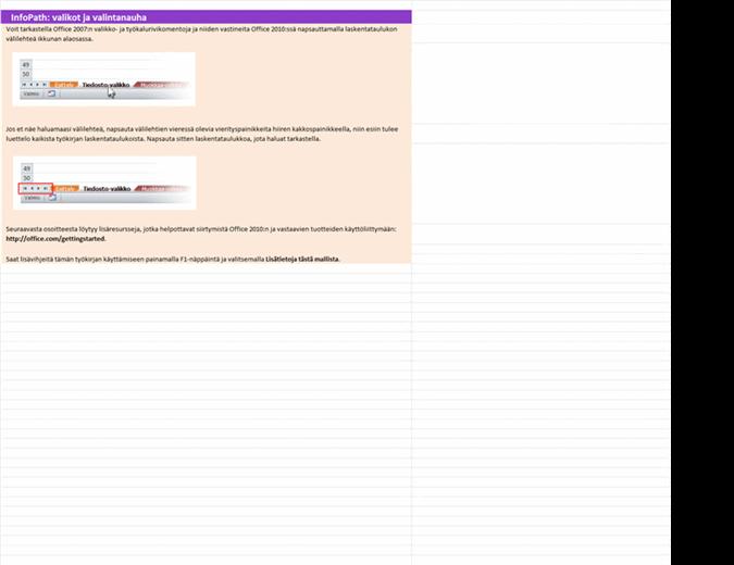 InfoPath 2010: valikko- ja valintanauhakomentojen vastaavuuksien työkirja