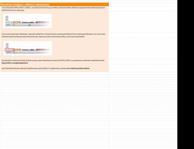 SharePoint Designer 2010: valikko- ja valintanauhakomentojen vastaavuuksien työkirja