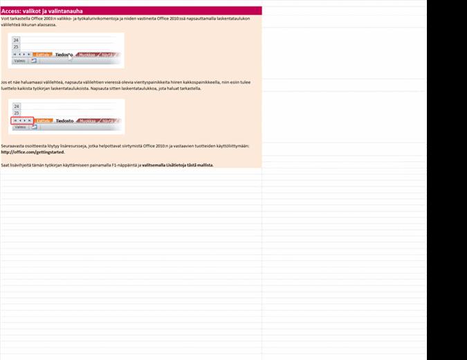 Access 2010: valikko- ja valintanauhakomentojen vastaavuuksien työkirja