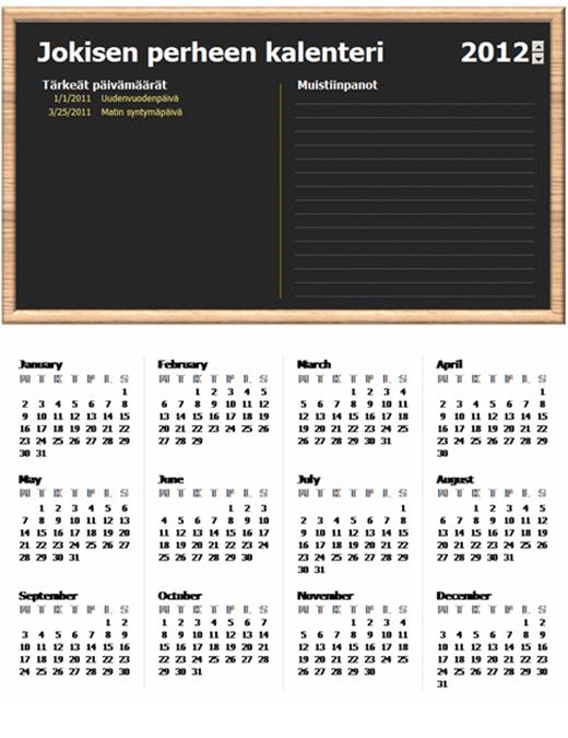 Perhekalenteri (vuosi, ma-su)
