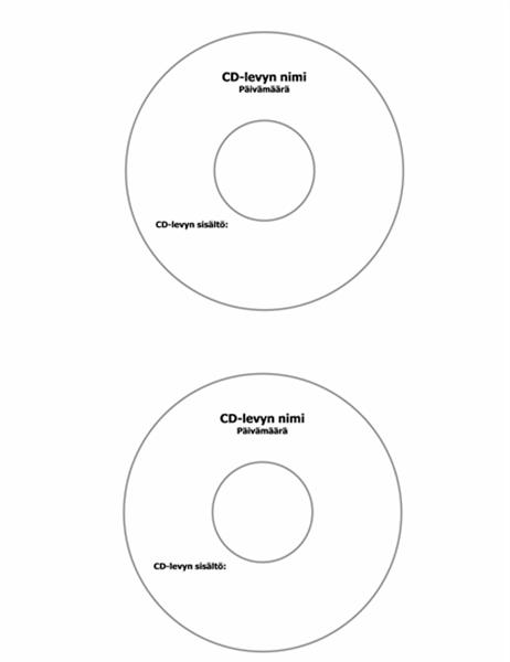 CD-levyn kansikuvat (Avery 5824 -yhteensopiva)