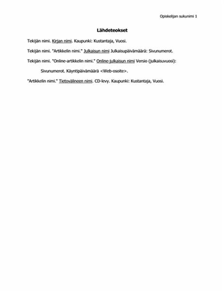 MLA-standardin mukainen lähdeluettelo
