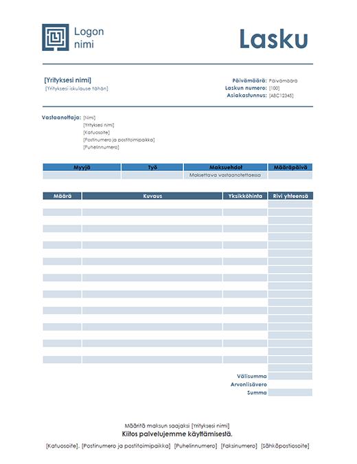 Palvelulasku (yksinkertainen sininen malli)