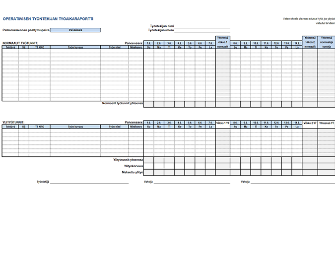 Operatiivisen työntekijän työaikaraportti