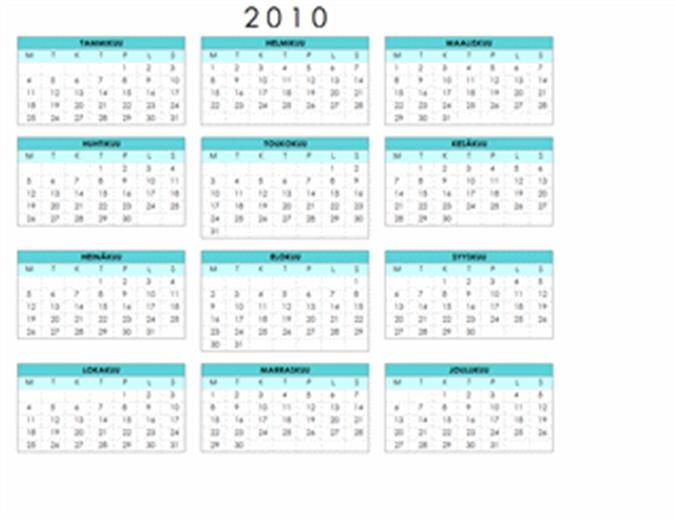 Vuoden 2010 kalenteri (1 sivu, vaaka, ma–su)