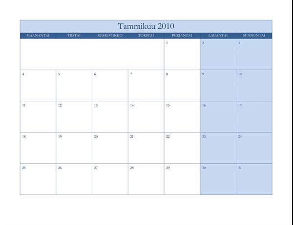 Vuoden 2010 kalenteri (klassinen sininen, ma–su)