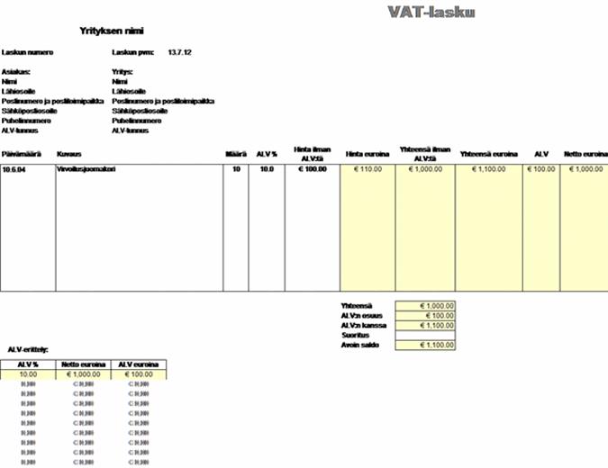 ALV-lasku - hinta ilman veroa
