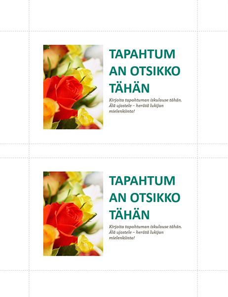 Yrityksen tapahtuman postikortit (2 per sivu)