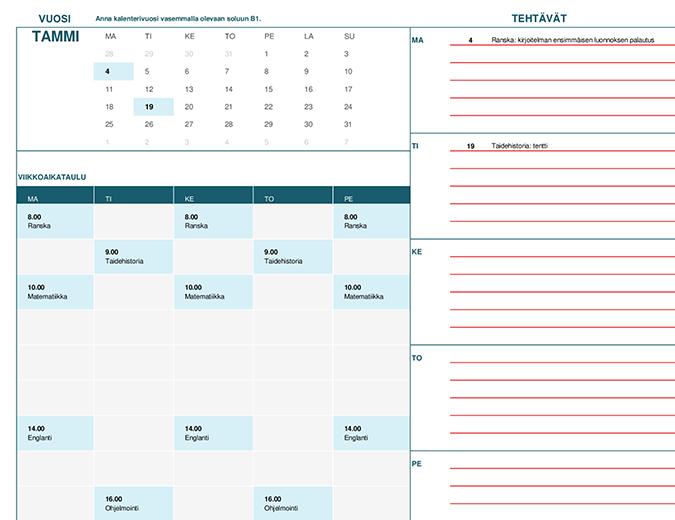 Opiskelijakalenteri (maanantai)
