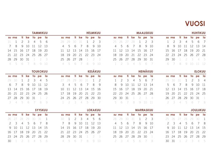 Koko vuoden yleinen kalenteri