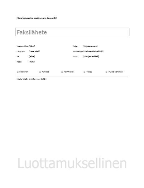 Faksin kansilehti – perusmalli