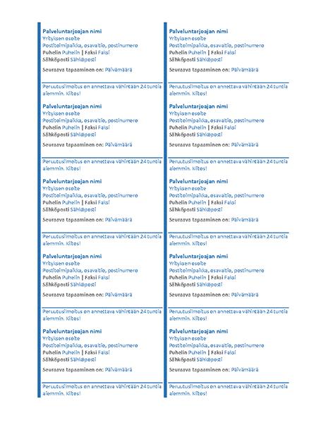Tapaamiskortit (10 kpl/sivu)